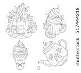 coloring page set. cupcake  ice ... | Shutterstock .eps vector #517444318