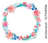 winter watercolor wreath... | Shutterstock . vector #517448986