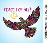 psychedelic peace bird dove... | Shutterstock .eps vector #517459282