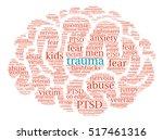 trauma brain word cloud on a... | Shutterstock .eps vector #517461316