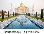 the taj mahal is an ivory white ... | Shutterstock . vector #517467142