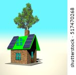 house with solar panels  3d... | Shutterstock . vector #517470268