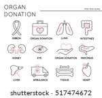 organ donation thin line icons... | Shutterstock .eps vector #517474672