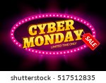 cyber monday sale retro light... | Shutterstock .eps vector #517512835