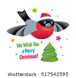 holiday bullfinch in santa's... | Shutterstock .eps vector #517542595