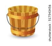 Wooden Bucket With Handle On...
