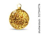 gold glitter christmas ball... | Shutterstock .eps vector #517544776