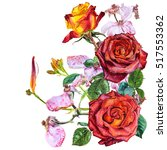 Stock photo card botanical watercolor illustration with roses red yellow and pink 517553362