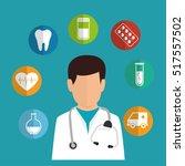 cartoon doctor healthcare... | Shutterstock .eps vector #517557502