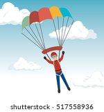 man parachute extreme sport... | Shutterstock .eps vector #517558936
