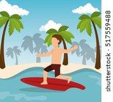 boy surfing water sport extreme | Shutterstock .eps vector #517559488