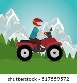 man riding atv sport landscape...