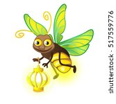 cartoon firefly with lantern... | Shutterstock .eps vector #517559776