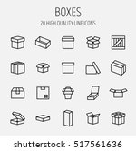 set of box icons in modern thin ...