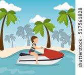 jet ski girl riding beach   Shutterstock .eps vector #517561828