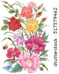 vector flowers.bouquet of roses ... | Shutterstock .eps vector #517579462