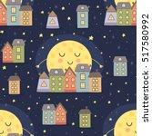 good night seamless pattern... | Shutterstock .eps vector #517580992
