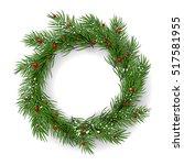 christmas wreath  garland on... | Shutterstock .eps vector #517581955