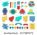 ribbons and labels flat set.... | Shutterstock . vector #517589572