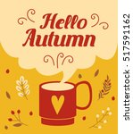 hello autumn card with autumn... | Shutterstock .eps vector #517591162