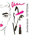 fashion illustration. hand... | Shutterstock .eps vector #517595266