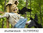 scarecrow sculpture attacked by ... | Shutterstock . vector #517595932