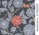seamless floral pattern with... | Shutterstock .eps vector #517602502