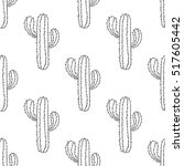 mexican cactus seamless pattern ... | Shutterstock .eps vector #517605442