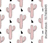 zentangle pink cactus seamless... | Shutterstock .eps vector #517606045