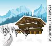 traditional alpine chalet in... | Shutterstock .eps vector #517609216