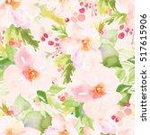seamless winter flowers pattern ... | Shutterstock . vector #517615906