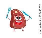 funny beef steak character... | Shutterstock .eps vector #517619695