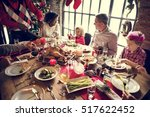 family together christmas... | Shutterstock . vector #517622452