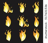 set of animation fire and... | Shutterstock .eps vector #517631536