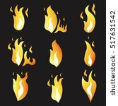 set of animation fire and... | Shutterstock .eps vector #517631542