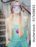 blond girl chewing gum and... | Shutterstock . vector #517638832