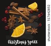 christmas winter spice.... | Shutterstock .eps vector #517642852