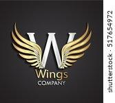 3d gold wings silver w logo  ... | Shutterstock .eps vector #517654972