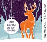 christmas illustration with... | Shutterstock .eps vector #517656802