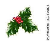 a sprig of mistletoe plants.... | Shutterstock .eps vector #517660876