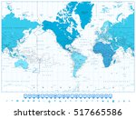 world map continents in colors... | Shutterstock .eps vector #517665586