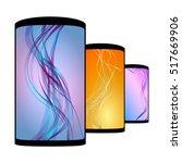 set of realistic smartphones... | Shutterstock . vector #517669906