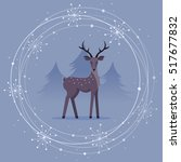christmas card with deer and...   Shutterstock .eps vector #517677832