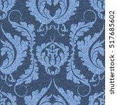 denim background with victorian ... | Shutterstock .eps vector #517685602