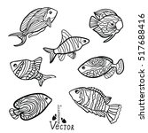 stylized fishes. aquarium fish. ... | Shutterstock .eps vector #517688416