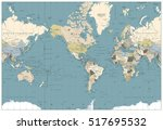 world map retro colors... | Shutterstock .eps vector #517695532