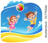 boy and girl playing with ball... | Shutterstock .eps vector #51770266