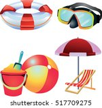 beach icon set with pail chair... | Shutterstock .eps vector #517709275