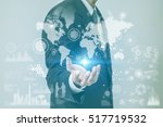 business person and worldwide... | Shutterstock . vector #517719532