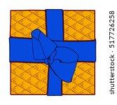 orange gift box present with... | Shutterstock . vector #517726258